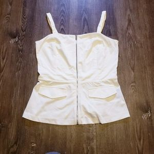 WHITE FRONT ZIP TAILORED DRESSY TANK SMALL
